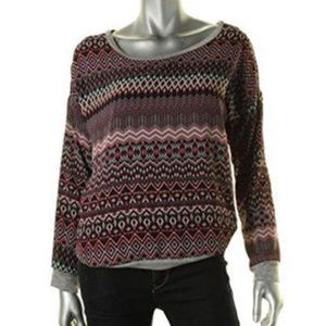 Pink Rose Black Maroon Red Sweater XS